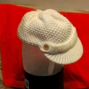 White Knit Schoolboy Hat w/ Wooden Buttons